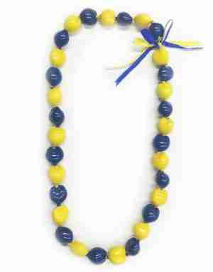 Yellow and Blue Kukui Nut Lei