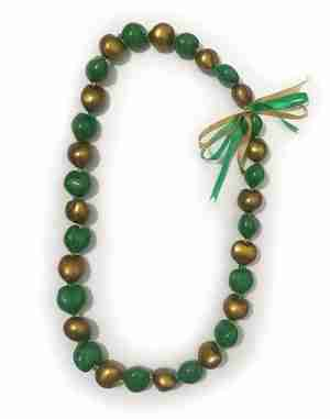 Green and Gold Kukui Nut Lei