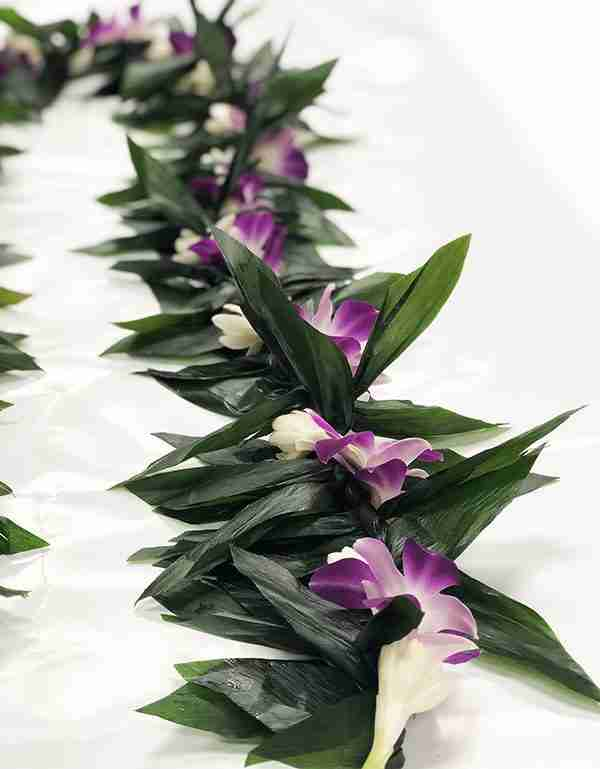 Maile Style Ti Leaf Lei with Flowers